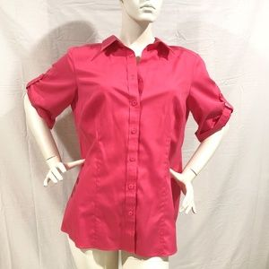 Vibrant Pink Coldwater Creek No Iron Blouse 1X
